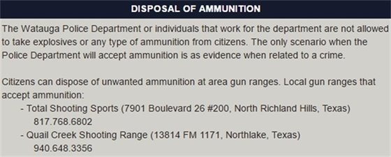 Disposal of Ammunition
