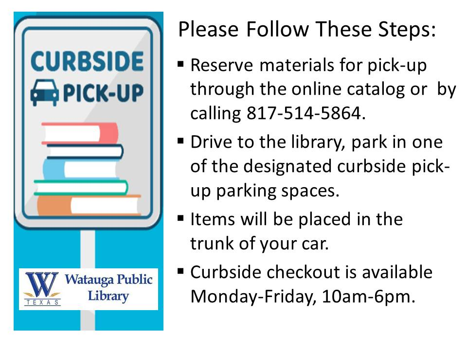 Library Building Closed - Curbside Checkout, Mon.-Fri., 10am-6pm