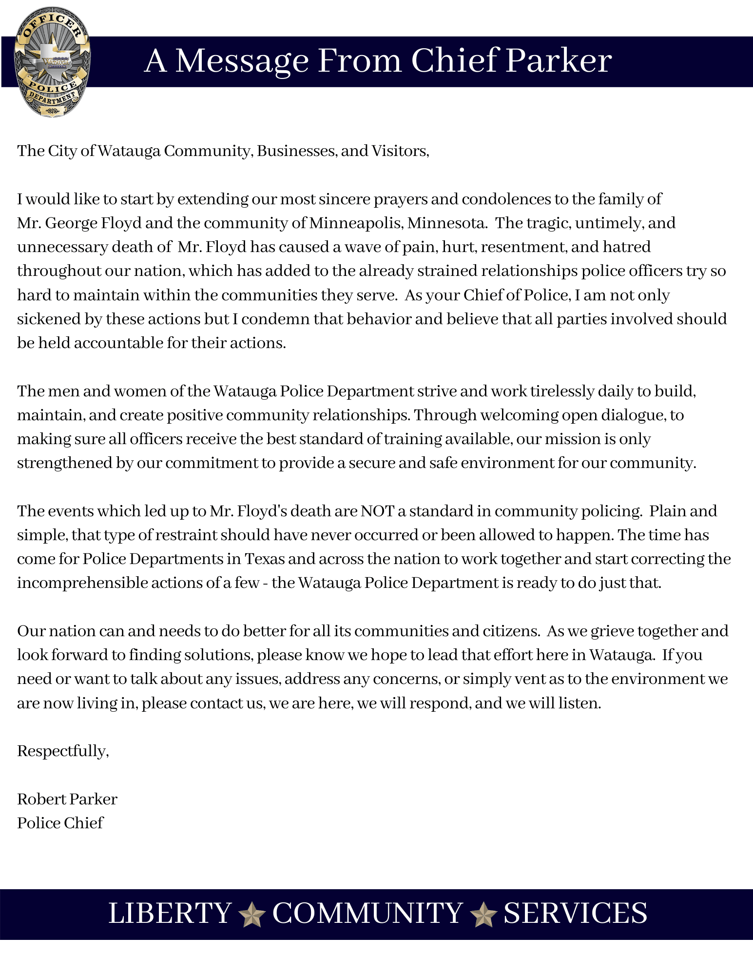 Letter From The Chief