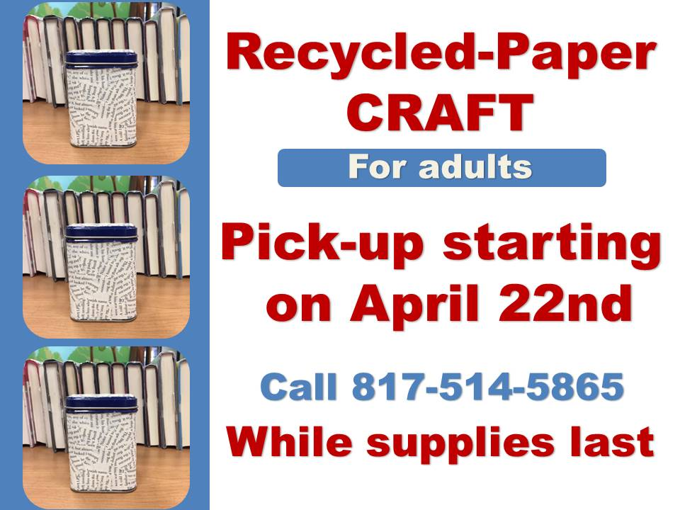 adult Recycled Paper Craft tin April 2021