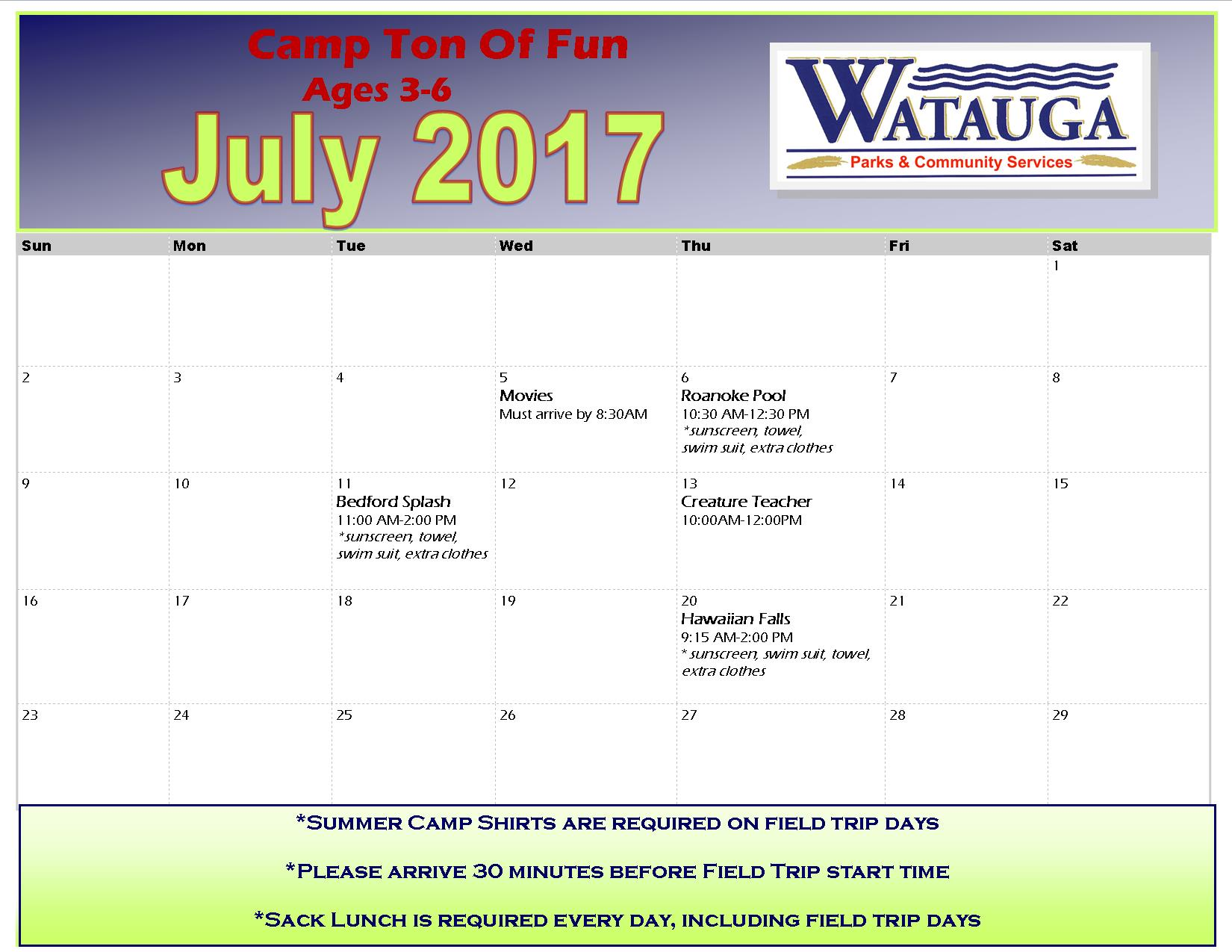 July 2017 Camp Ton of Fun Field Trips