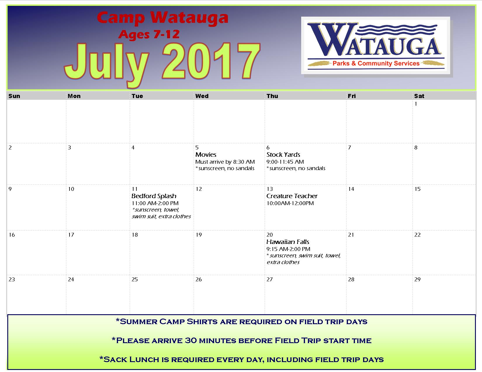 July 2017 Camp Watauga Field Trips