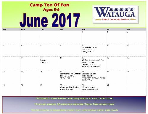 June 2017 Camp Ton Of Fun Field Trips