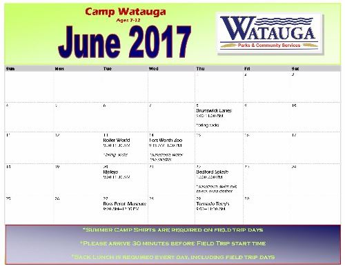 June 2017 Camp Watauga Field Trips
