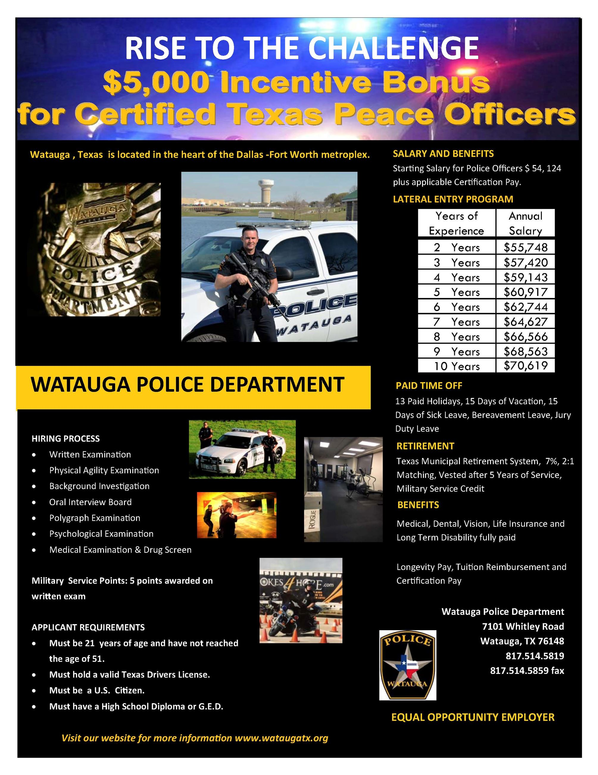 Police officer applicants watauga tx official website hiring process xflitez Choice Image