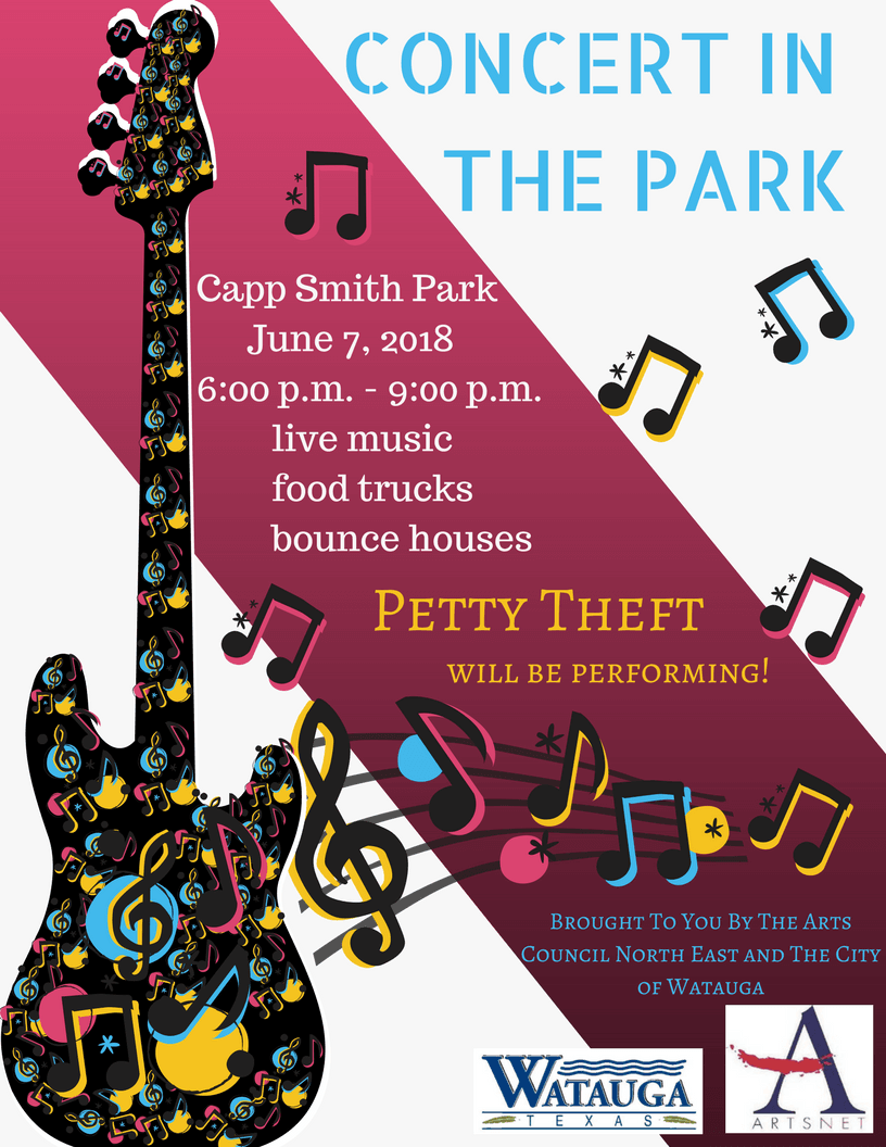 Concerts in the park petty theft flyer