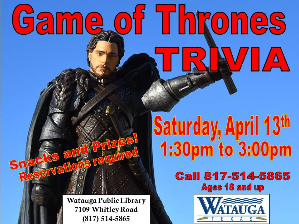 Game of Thrones Trivia Night April 2019
