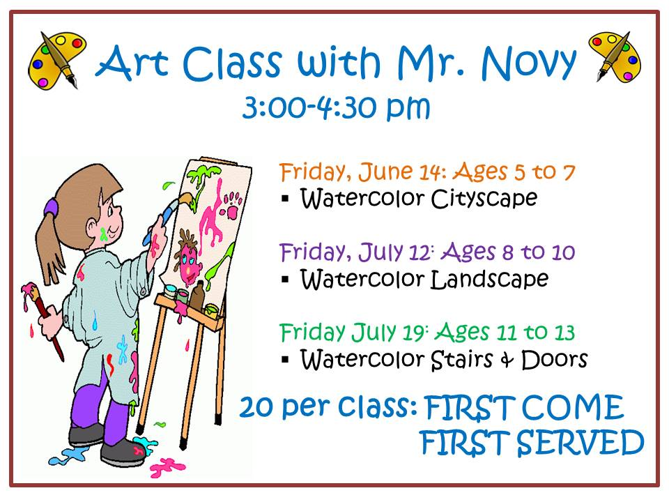 June Art Class with Mr Novy Flyer